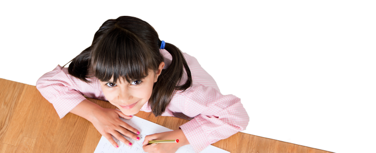 School girl practising writing English